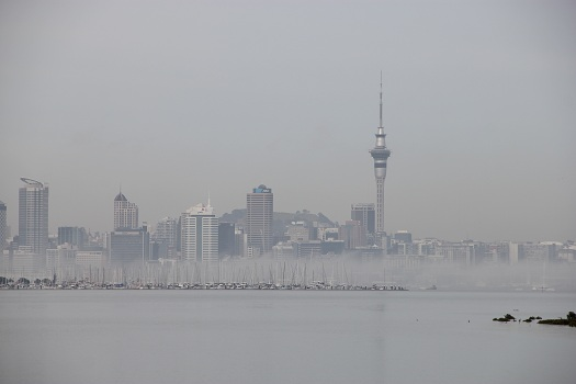 Auckland in winterlichem Nebel