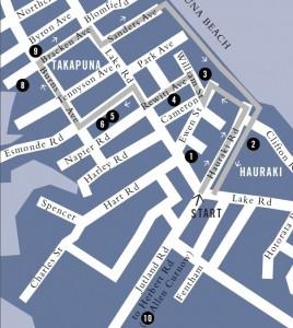Takapuna Literary Walk - Die Karte