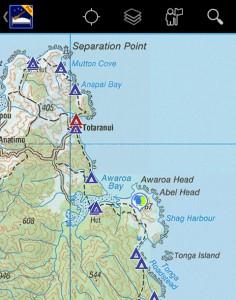 Nestfinder Pro: Points of Interest auf topographischer Karte