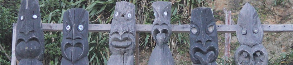 Maori carvings, Island Bay, Wellington, New Zealand