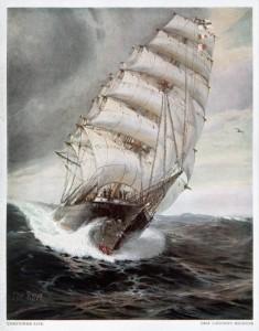 Ein Gemälde von Luckners Schiff, der SMS Seeadler.