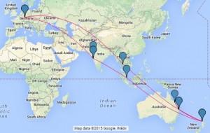 Die NZ2Go Testflugstrecke 2015, auf Google Maps abgebildet.