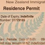 Sample NZ Residence Permit (c) NZ2Go.de