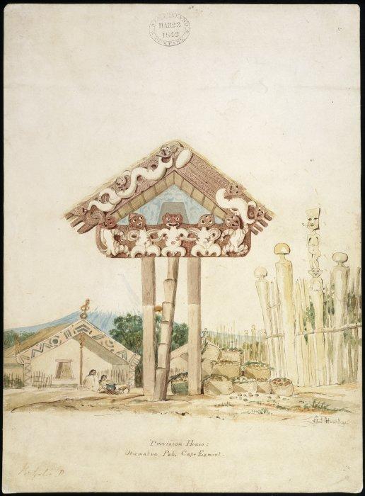 Vorratslager, pataka, gezeichnet von Charles Heaphy. Man beachte die Bemalung, rot und weiß des pataka. (c) ATL Wellington